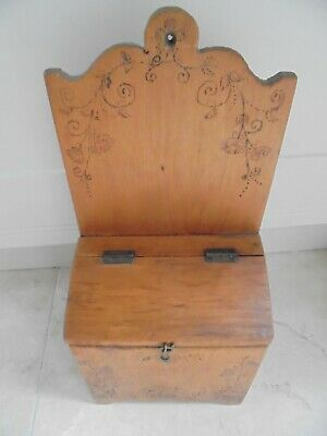 Vintage French carved wooden candle box, Church, kitchen storage, poker work