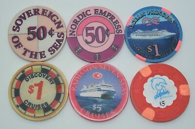 Set of 6 Mix Cruise Ships 50¢-$1-$5 Casino Chip Dolphin-Nordic Empress-Discovery