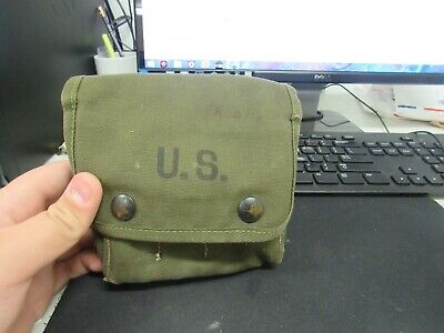 WWII US jungle first aid pouch with partial contents 1945 dated