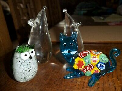Small Glass  Paperweights cat,mouse owl