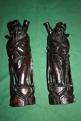 PAIR OF CHINESE IMMORTALS. HARD WOOD CARVED SCULPTURES w SILVER INLAIDS