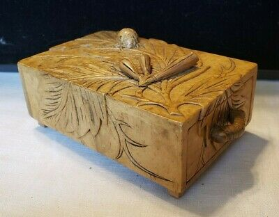 Antique Chinese Carved Soapstone Drawer Box - 3D Flowers Catapillar Beatle