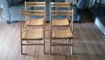 Set of 4 Vintage, wooden slat, folding chairs. Mid Century.
