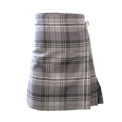 New Scottish Tartan Kids Polyviscose Kilt - Hamilton Light Grey - Age 0-12 Years