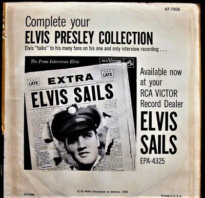 45 rpm # 3 Elvis Presley A fool Such As I w Rarest Elvis Sails back sleeve 1959