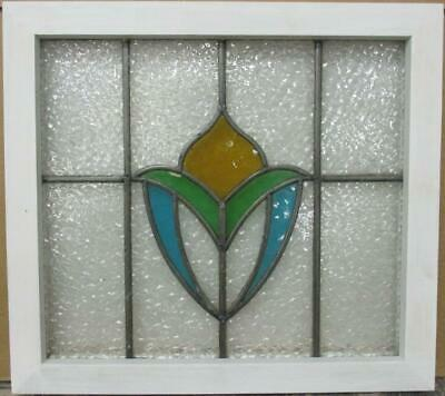 "OLD ENGLISH LEADED STAINED GLASS WINDOW Stunning Abstract Design 20"" x 18"""