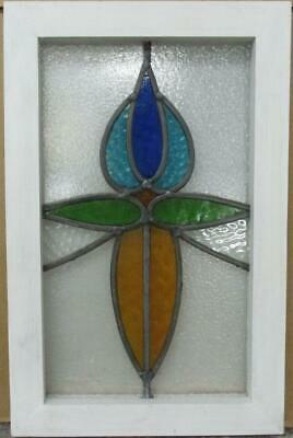 "OLD ENGLISH LEADED STAINED GLASS WINDOW Pretty Abstract Floral 12.5"" x 19.25"""