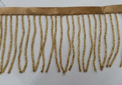 3 inches, seed bugle beaded fringe gold,sold by 1 yard  ,usa seller
