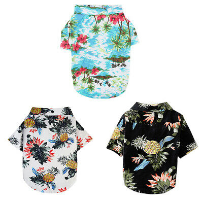 Summer Apparel Outfit Pet Dog Cat Puppy Hawaiian Printed Clothing Fashionable