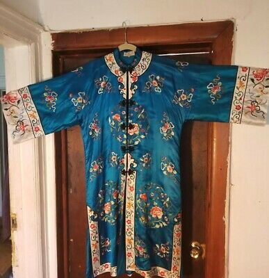 Beautiful 1970S Chinese Embroidered Short Robe Mint Condition