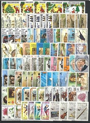 Turks & Caicos Islands 100 Different Stamps All Mint Sets MUH In Glassine Bag