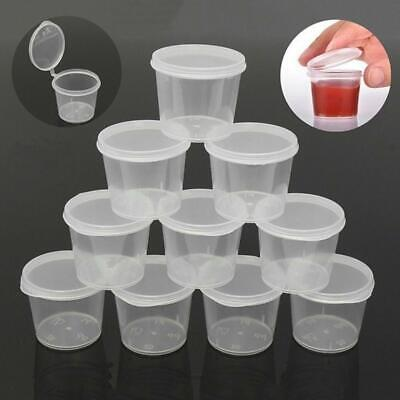 100Pcs Small Plastic Sauce Cups Food Storage Containers Clear Boxes With Lids UK