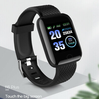 Black Smart Watch Bluetooth Heart Rate Blood Pressure Monitor Fitness Tracker UK