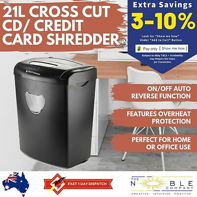 21L Paper Shredder Electric Cross Cut CD Credit Card A4 10 Sheets Home Office
