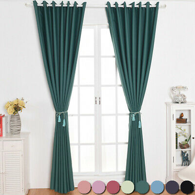 Thermal Blackout Curtains Ready Made Eyelet Ring Top Curtain Pairs Home Decors