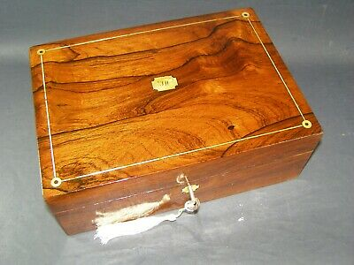 Antique Rosewood Desk Top Box Working Lock & Key  c1860 Mother Of Pearl Roundels