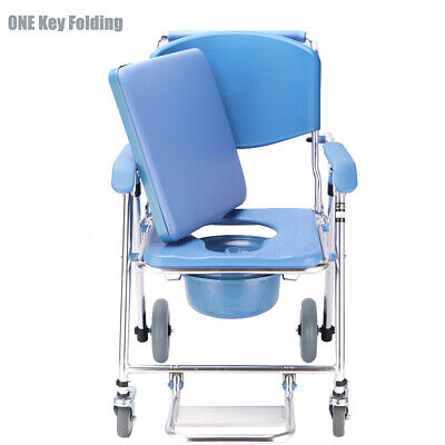 ONE Key Folding Mobile Shower Bedside Commode Chair Padded Seat Footrest Aid Old