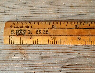 Vintage Government Stationary Office S.O. Wooden Ruler England Inches Metric #B