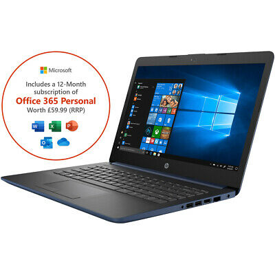 "HP Stream 14-cm0038na 14"" Laptop 4 GB RAM 64GB AMD A4 Windows 10 in S Mode"
