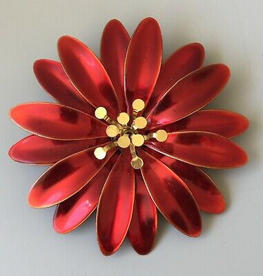 Vintage red Christmas flower with movable petals  Brooch pin in enamel on metal