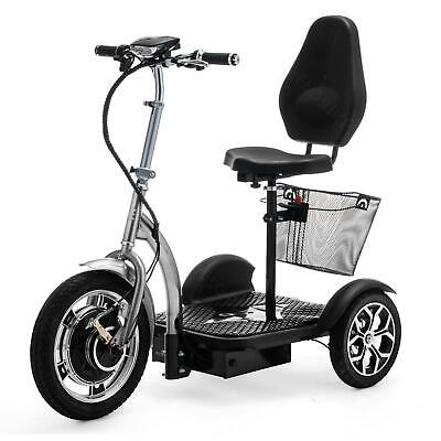 Golfcart 3 Wheel Electric Mobility Scooter Tricycle Trike basket Silver