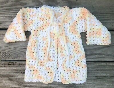 Crocheted peach and yellow baby kimono size 0-6 months