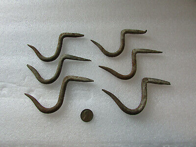 VTG Lot Early Antique primitive blacksmith hand forged meat hooks