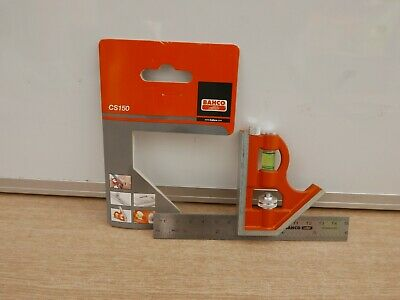 """Bahco Cs150 6"""" Stainless Steel Combination Square Cast Stock"""