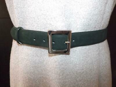 "Vintage MONDI Ladies Forest Green Suede Leather Belt Size 26ins""-30ins"""