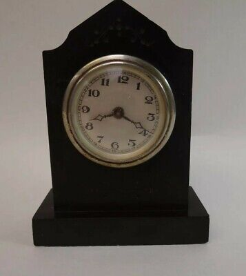 Gothic Style Small Black Slate Clock for Restoration