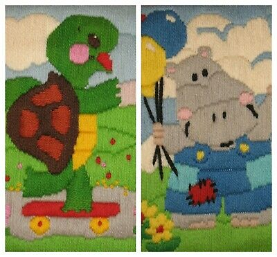 Framed Needlepoint Pictures Tommy the Turtle Harry Hippo for Baby Nursery