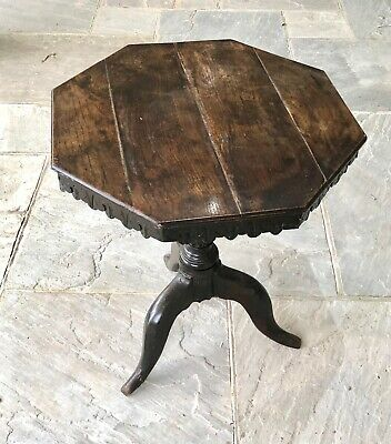 19th Century Antique Octagonal Occasional Table - Patinated Dark Oak