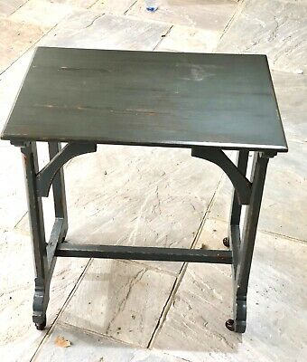 c. 1900  French Occasional Table on Wheels - Painted Grey - Lovely