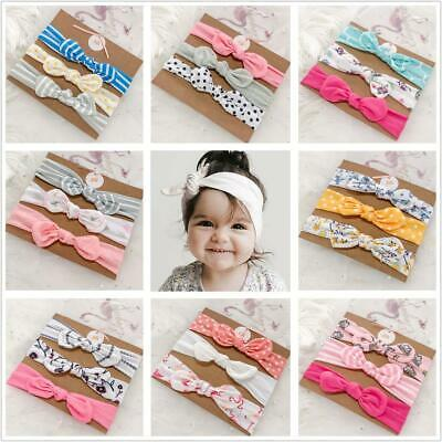 3pcs/set  Baby Girl Headband Ribbon Bow Elastic Hair Band Cotton Elastic Newborn