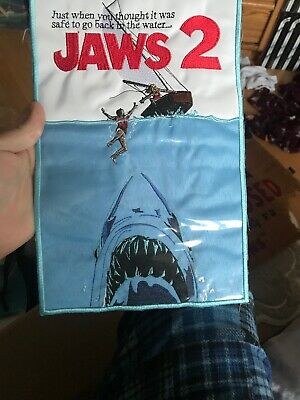 Jaws 2 Embroidered Big Patch Poster Horror Movie Shark Martin Brody The Revenge.
