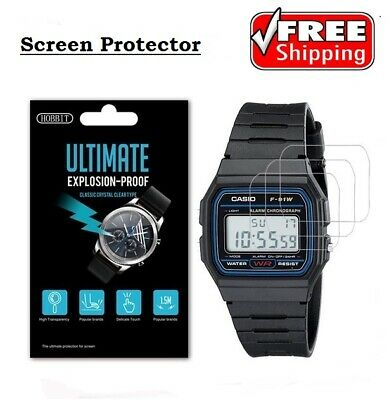 Casio Men's F91W-1 Classic Watch Nano Explosion proof Screen Protector- 3 Pack