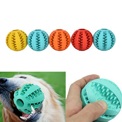 Rubber Ball Chew Treat Cleaning Pet Dog Puppy Cat Toy Training Dental Tee TK