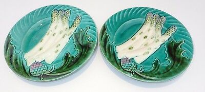 2 ANCIENNES ASSIETTES SALINS BARBOTINE MOTIF ASPERGES  French Majolica