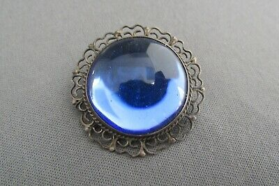 Vintage Mexico Taxco Sterling Filigree Cabochon Blue Glass Pin Pendant Combo