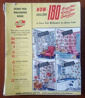 1951 * SEARS Wallpaper Book * Great Mid Century Modern Patterns * 100 + Pages