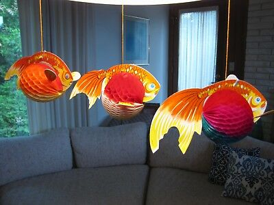 Lot-10 packs of 3 Vintage GOLD FISH Honeycomb Decorations Japan Kitsch Paper NOS