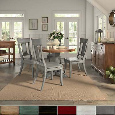Eleanor Antique Grey Round Top Solid Wood Dining Set - Panel
