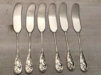 Audubon by Tiffany Sterling Silver set of 6 flat Butter Spreaders 6""