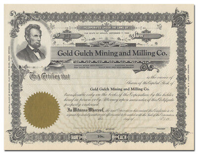 Gold Gulch Mining and Milling Co. Stock Certificate