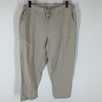 Columbia woman's pants beige linen size extra large drawstring crop