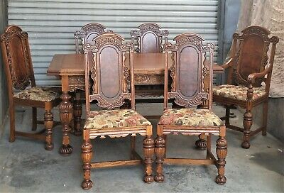 Antique Oak & Walnut Spanish Revival Draw Leaf Table & 6 Chairs 1920s RESTORED