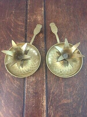 Vintage Solid Heavy Brass Pineapple Chamber Handle Candlestick Holder Pair
