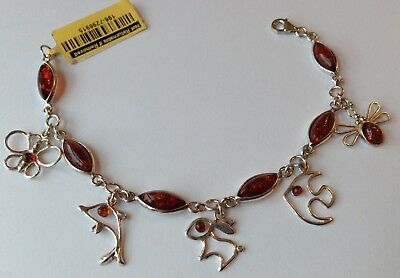 Beautiful Baltic Amber Sterling Silver Hsn Charm Bracelet