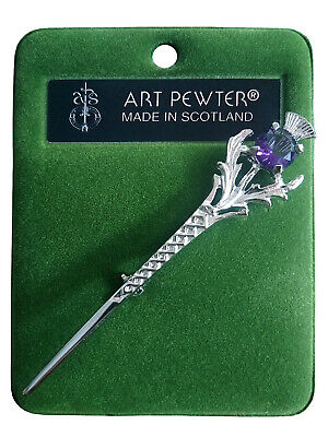 Art Pewter Amethyst Thistle Kilt Pin - Made In Scotland