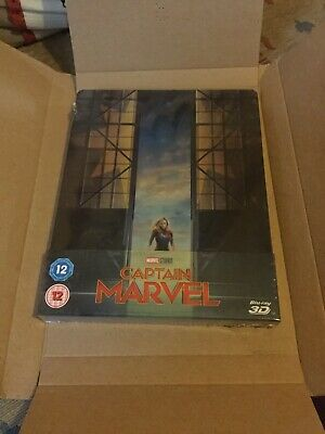 CAPTAIN MARVEL - 3D + 2D BLU RAY ( STEELBOOK - UK EXCLUSIVE ), brand new sealed